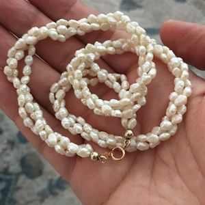 Genuine seed pearl & solid 14k necklace